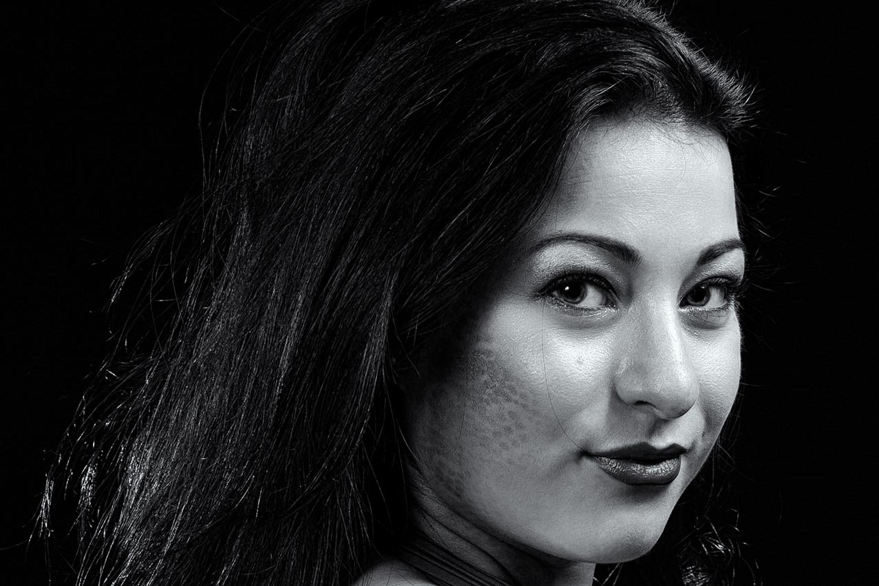 Young woman portrait in B&W